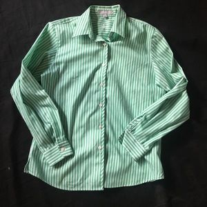 Foxcroft Wrinkle Free Shaped Fit Blouse 8 Striped